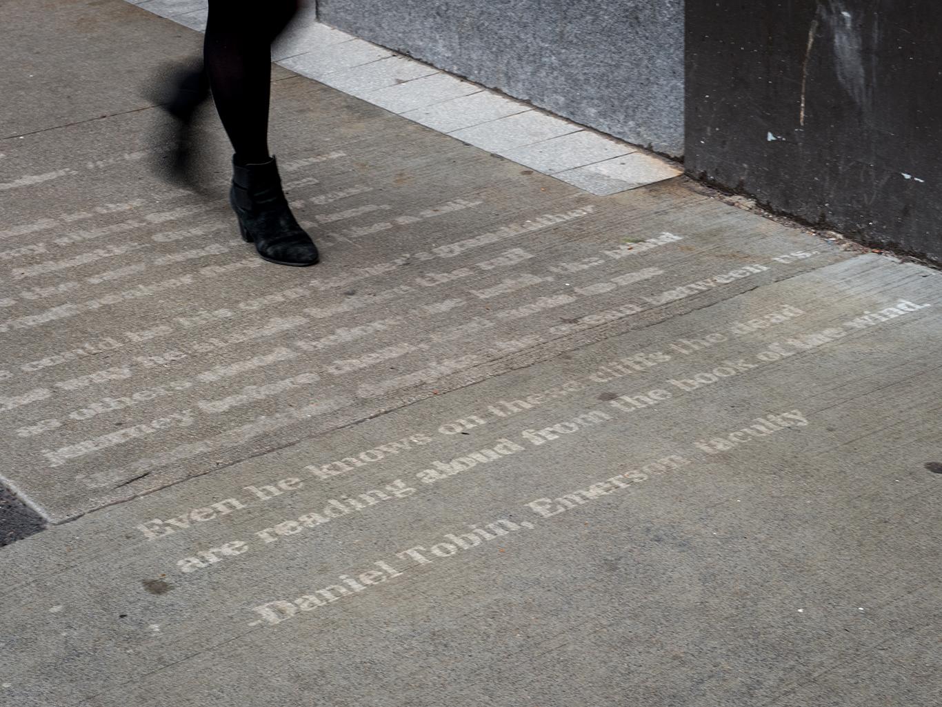 Walking on sidewalk poem