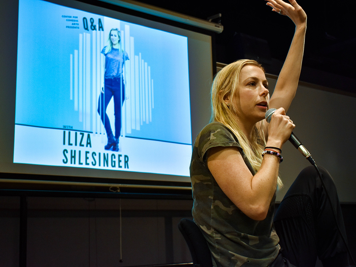 Iliza Shlesinger speaks to students