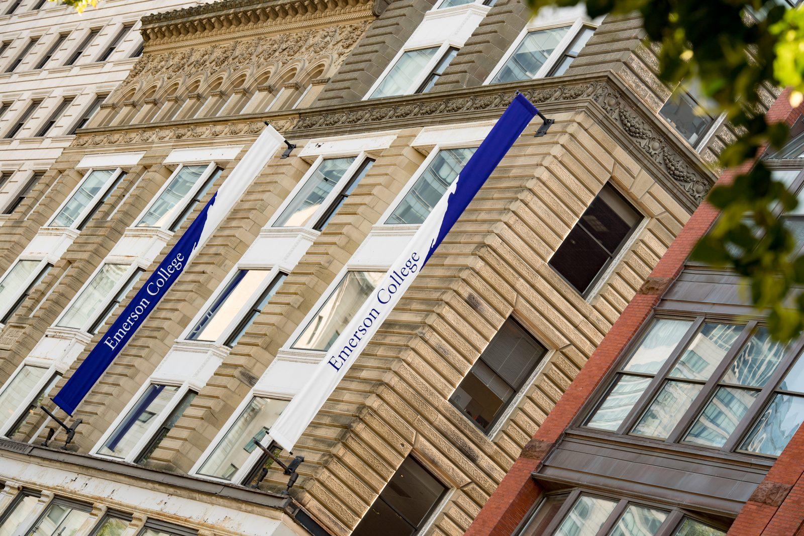 Emerson buildings with banners