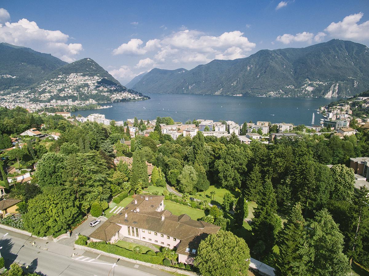 Trees and lake near Franklin University Switzerland