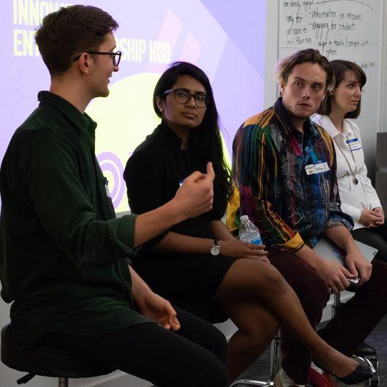 Students, entrepreneurs at Emerson Launch panel
