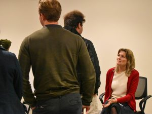 people lined up to talk to Jennifer Egan