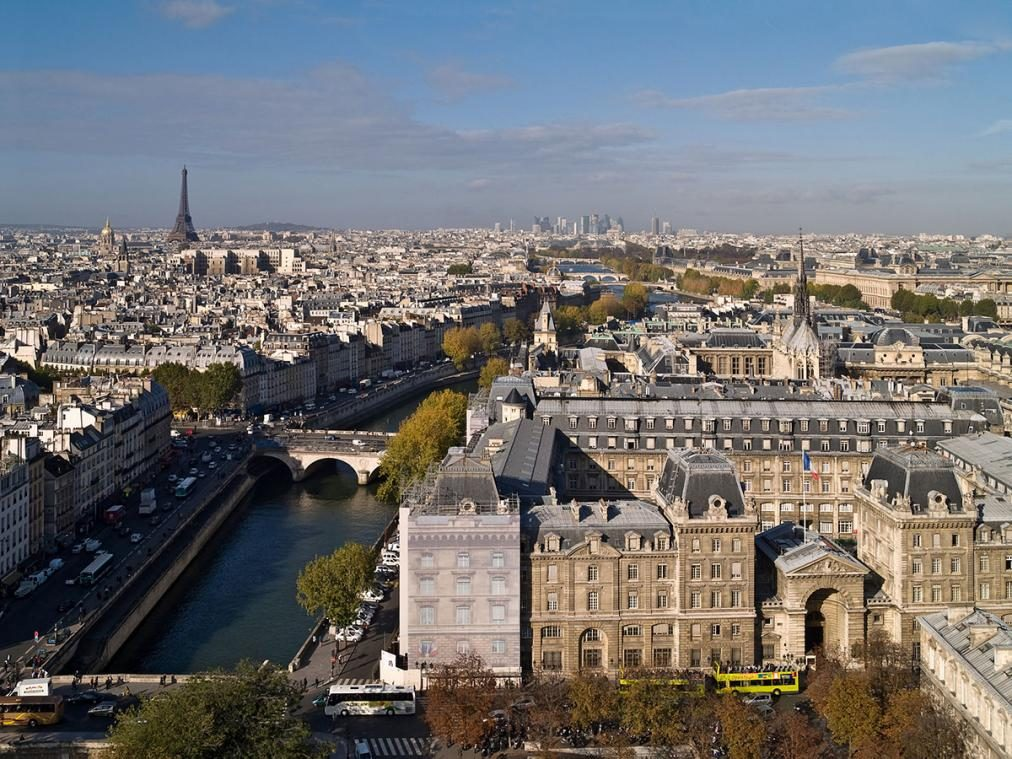 aerial shot of paris