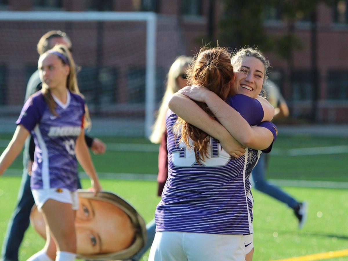 players hug on field