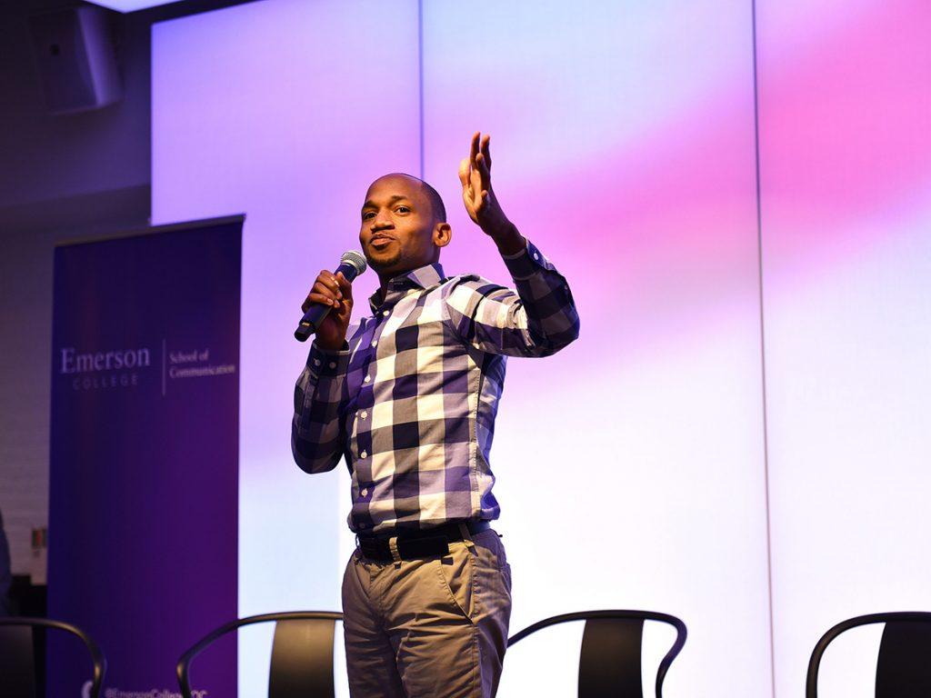Hawkins standing, speaking