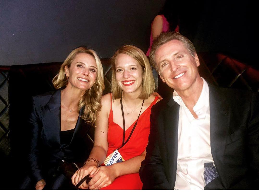 Jennifer Siebel Newsom, Katie Prisco-Buxbaum and California Governor-elect Gavin Newsom. Prisco-Buxbaum served as Finance Director for Newsom's campaign.