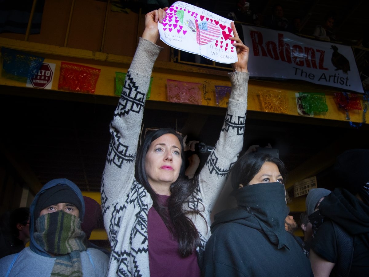 A woman protests
