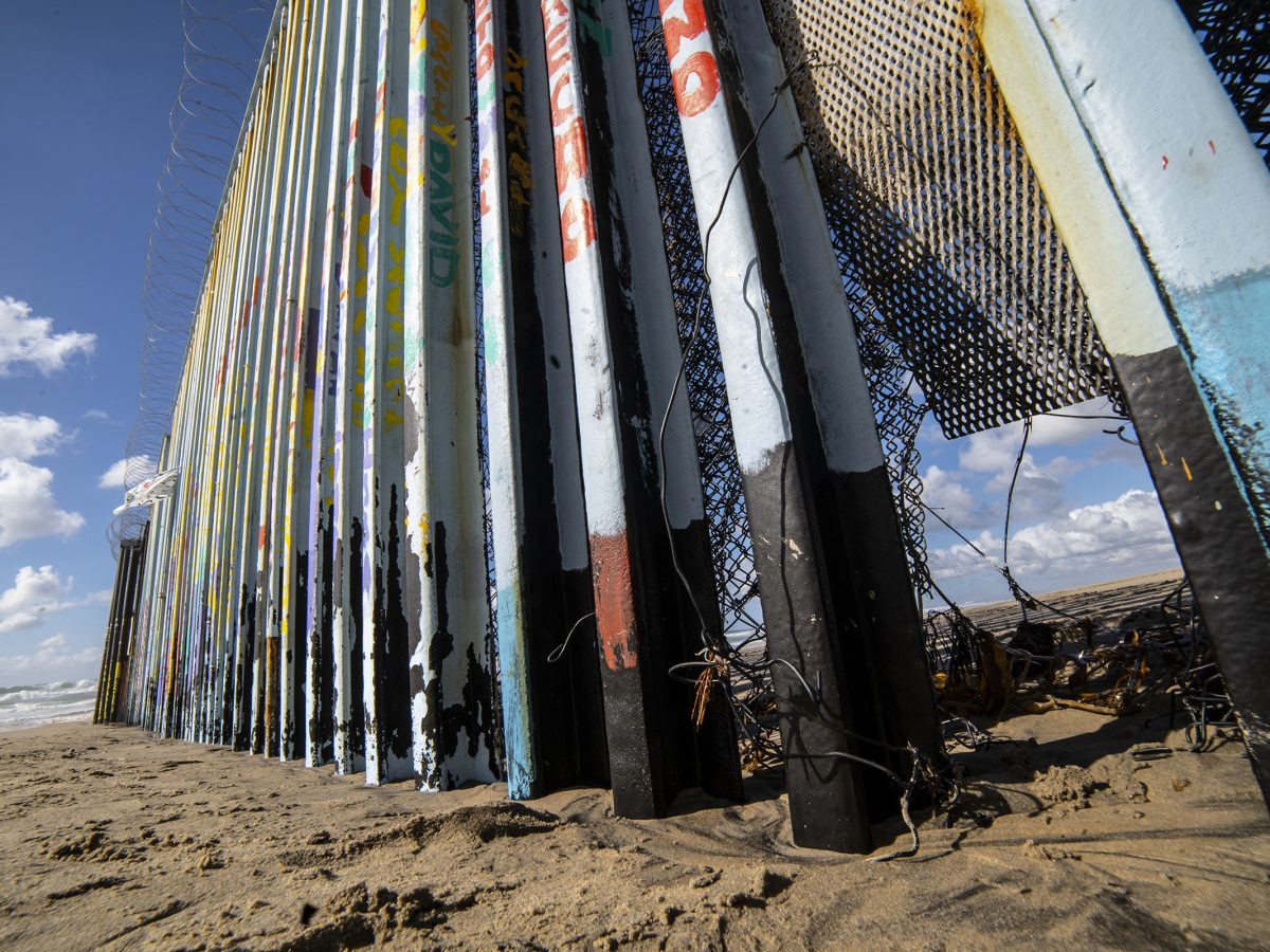 A small hole is sizable enough for someone to get through a wall on the Mexican-U.S. border.