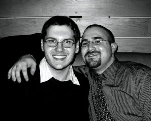 Brian and Eric black and white photo