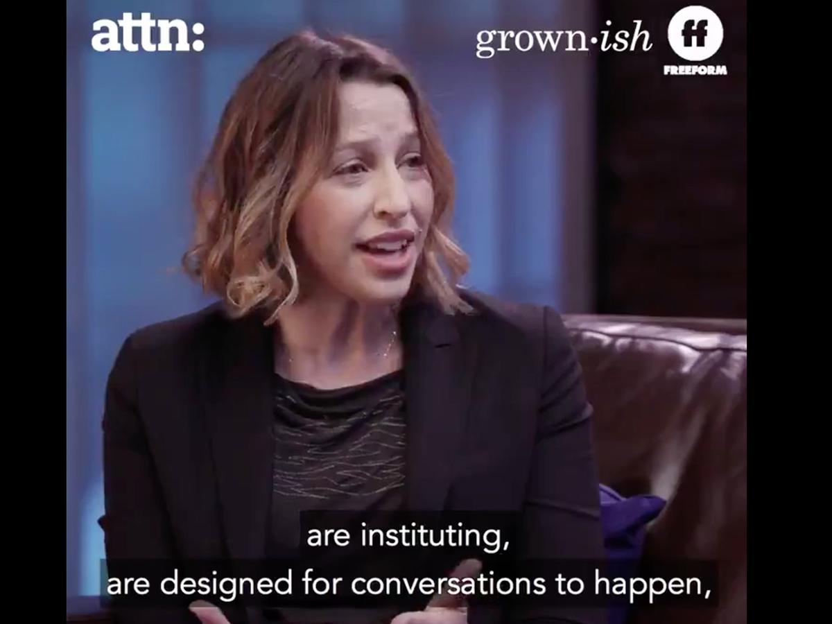 Miranda Banks talking on video