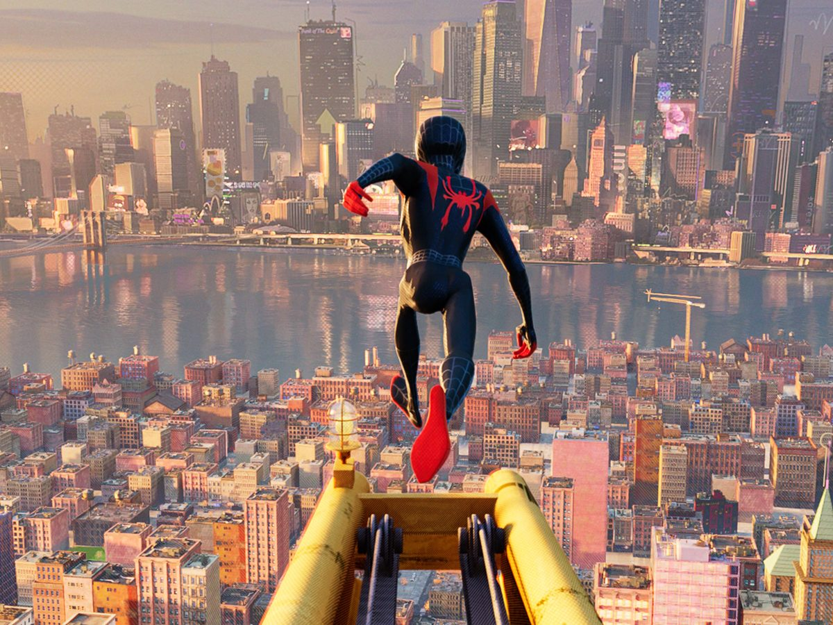 spiderman jumping over buildings