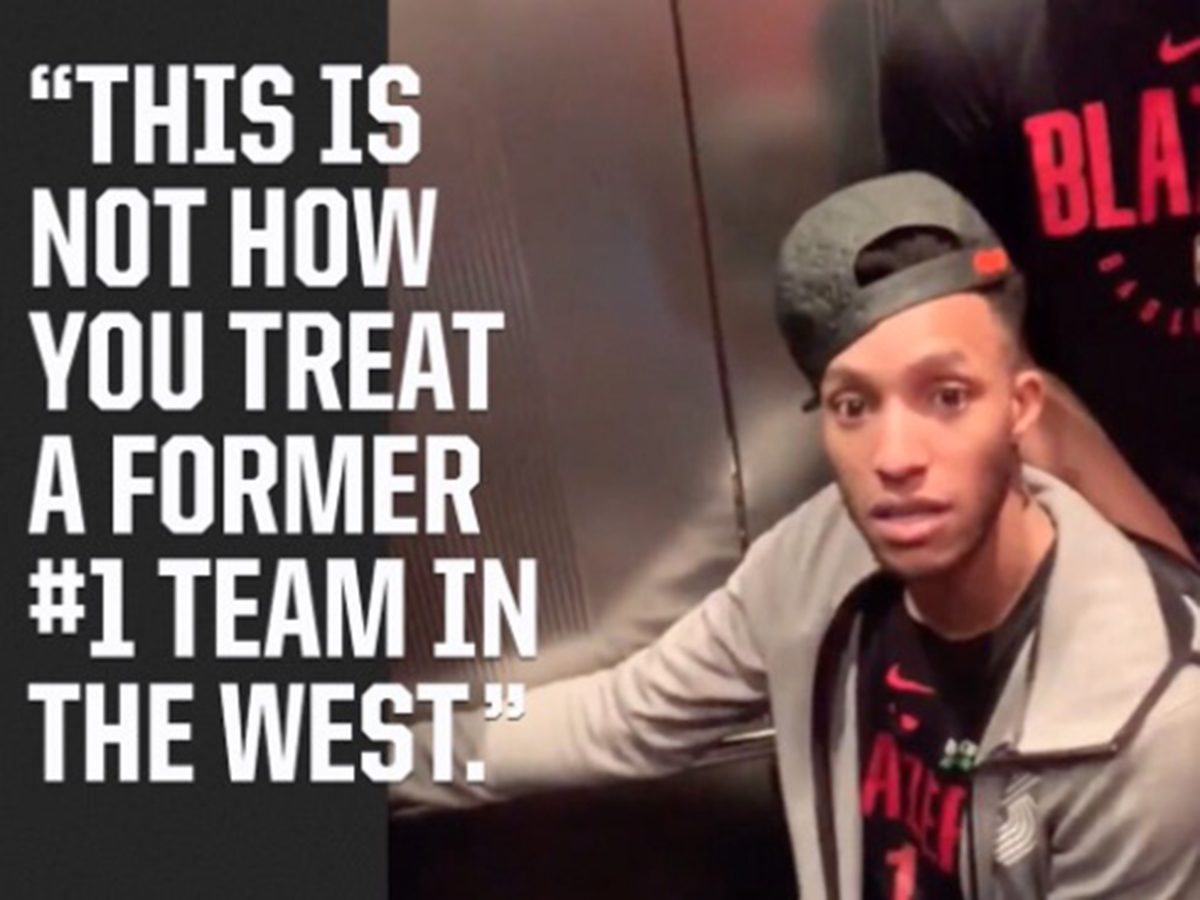 Seven Portland Trail Blazers, including guard Evan Turner, were stuck in an Emerson College elevator on February 26, 2019.