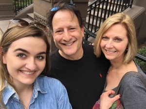 Hope Weinstock '19, with her parents, Scott and Holly Weinstock, who graduated from Emerson College in 1984.
