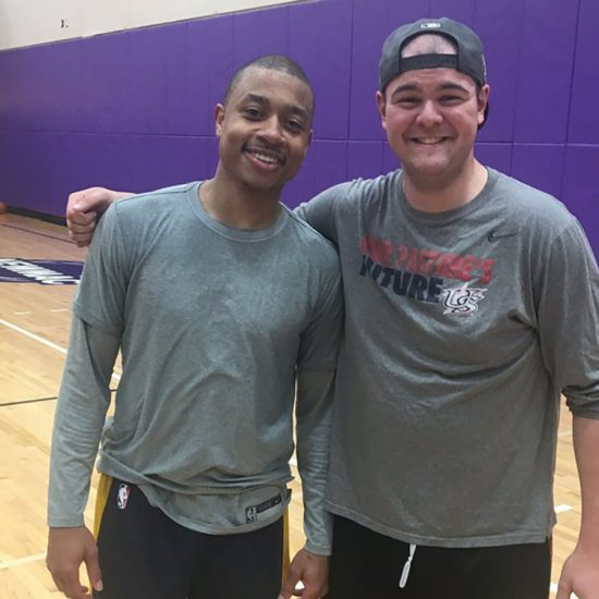 Former Celtic and current Denver Nugget Isaiah Thomas stuck around after practice to play ball with Emerson College students on March 17, 2019.