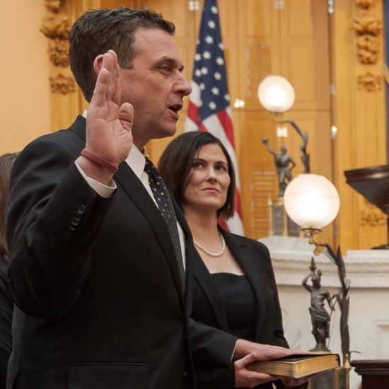 Ohio Republican State Senator Michael Rulli '91, is sworn into the Ohio State Assembly.