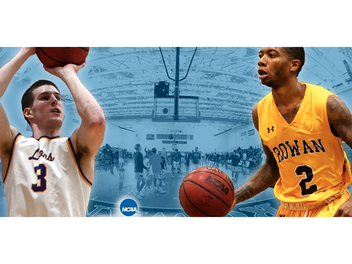 Emerson College is playing Rowan University in the NCAA DIII Basketball Tournament on March 1, 2019.