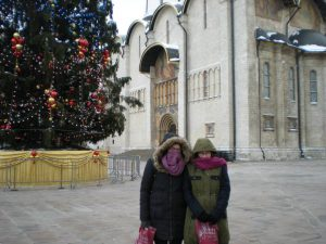 Lilly Millman with her sister in Moscow.