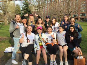 Alaina Belanger, in 2016, with her Kappa Gamma Chi sisters after finishing the Boston Marathon.
