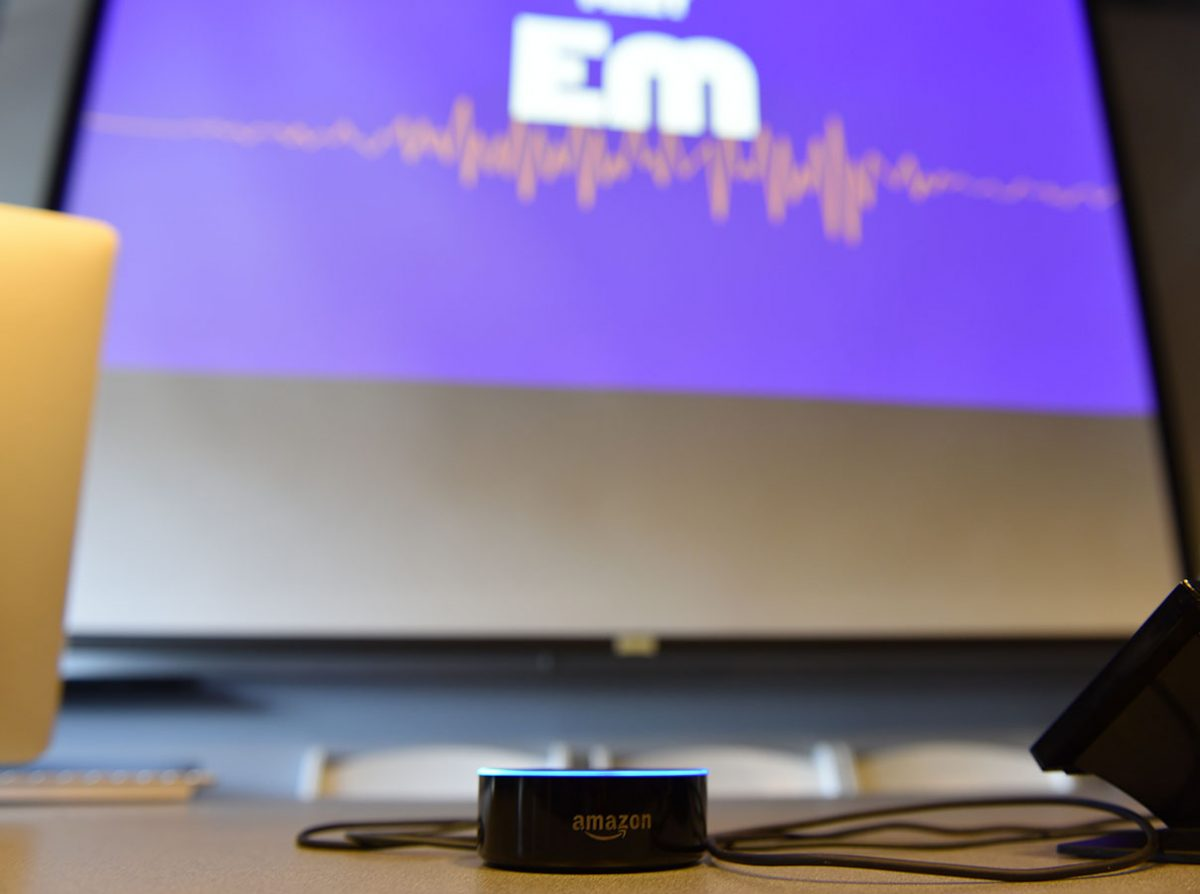 Emerson Launch introduced Emerson College's new digital voice assistant, Em, during the School of Communication's Communication Days.