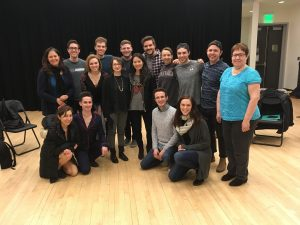 The 2019 Emerson College BFA Musical Theatre Class with A Story No One Knows writers Liana Stillman and Hyeoung Kim.