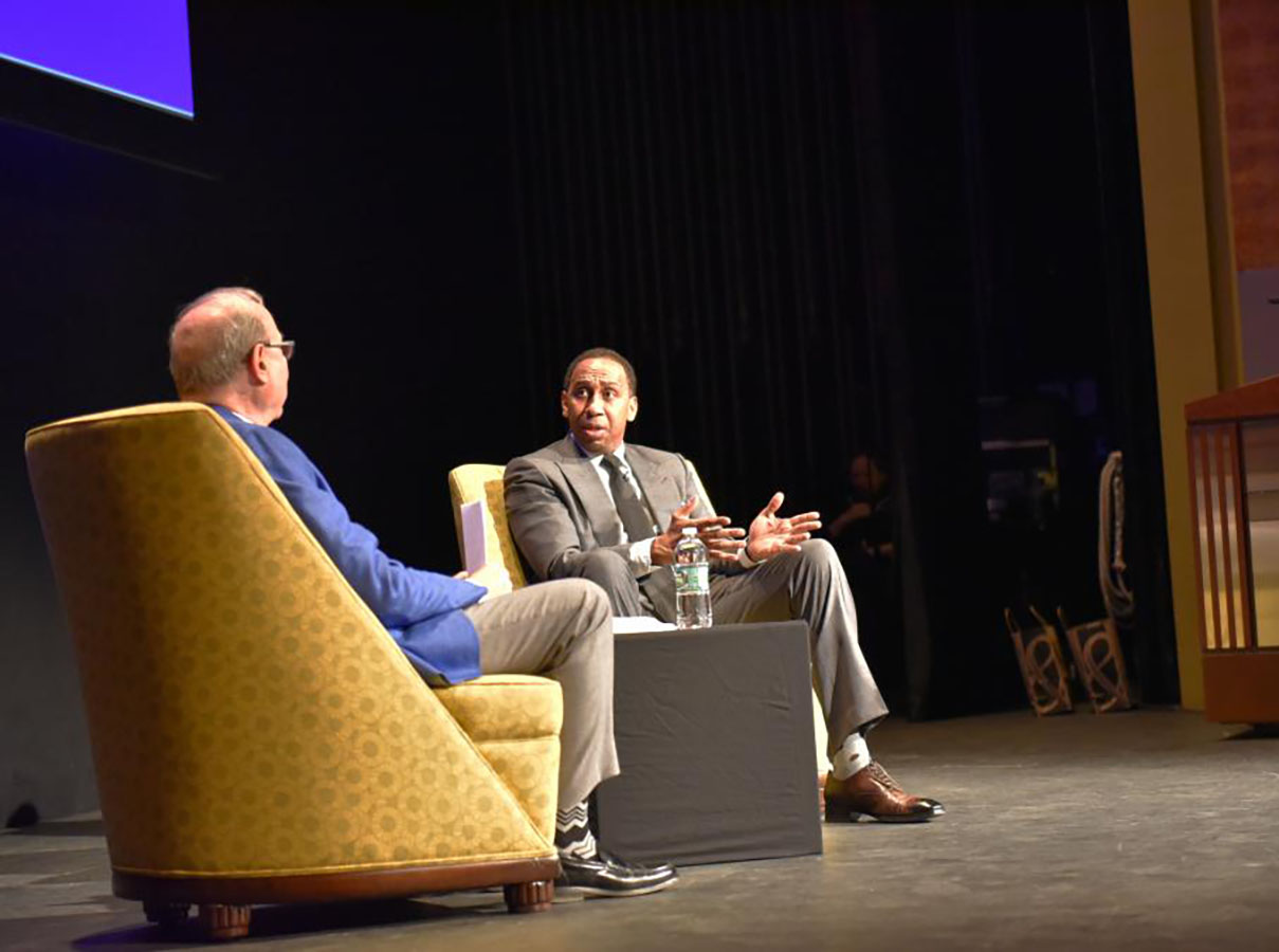 Emerson's Al Jaffe Speaker Series hosts sports TV and radio personality, Stephen A. Smith. [Photo/Molly Loughman]