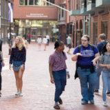 Students walking down Boylston Place