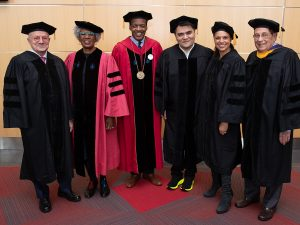 Lee and honorary degree recipients pose