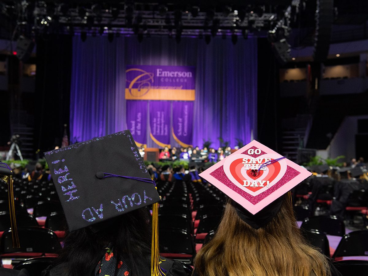 Back of two mortarboards