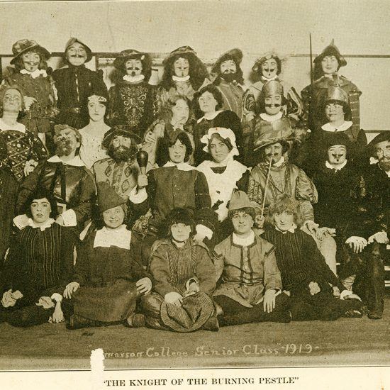 sepia photo of students in period costume