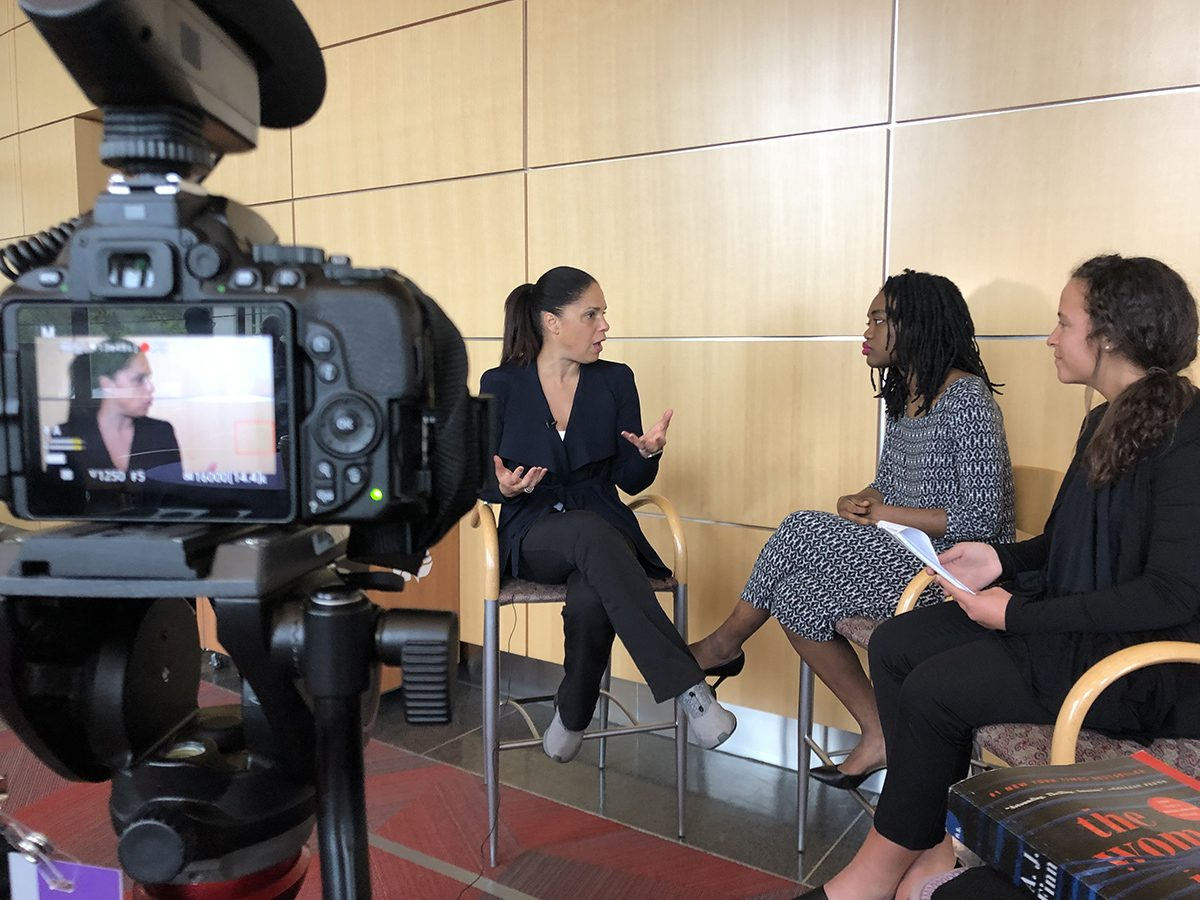 Soledad O'Brien talks to students on camera