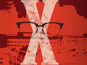glasses in front of red X