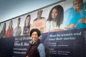 Elisa Hamilton poses next to her art project Slideshow at HubWeek 2017. Photo by Sylvia Stagg-Giuliano