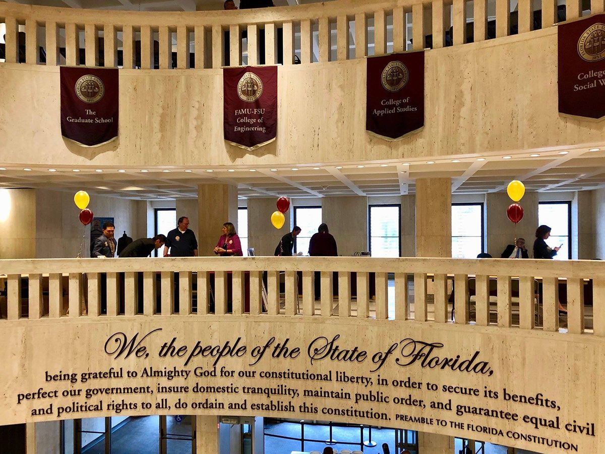 The preamble to Florida's state constitution is embossed on the rotunda of the State House in Tallahassee. (Photo courtesy of Florida League of Women Voters)