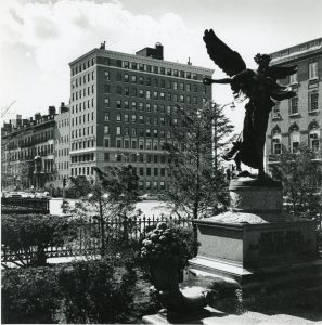 A view of the 100 Beacon Street building from the Public Garden in the 1960s. (Courtesy Emerson College Archives and Special Collections)