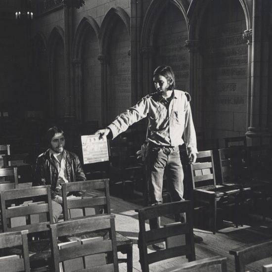 students film in church