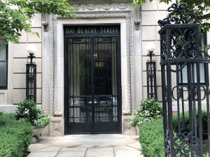 The entrance of 100 Beacon Street in 2019.