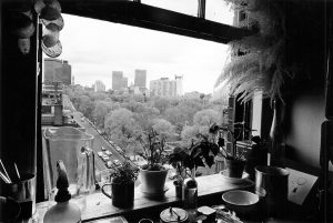View from 100 Beacon Street building overlooking the Public Garden in 1960s. (Courtesy Emerson College Archives and Special Collections)
