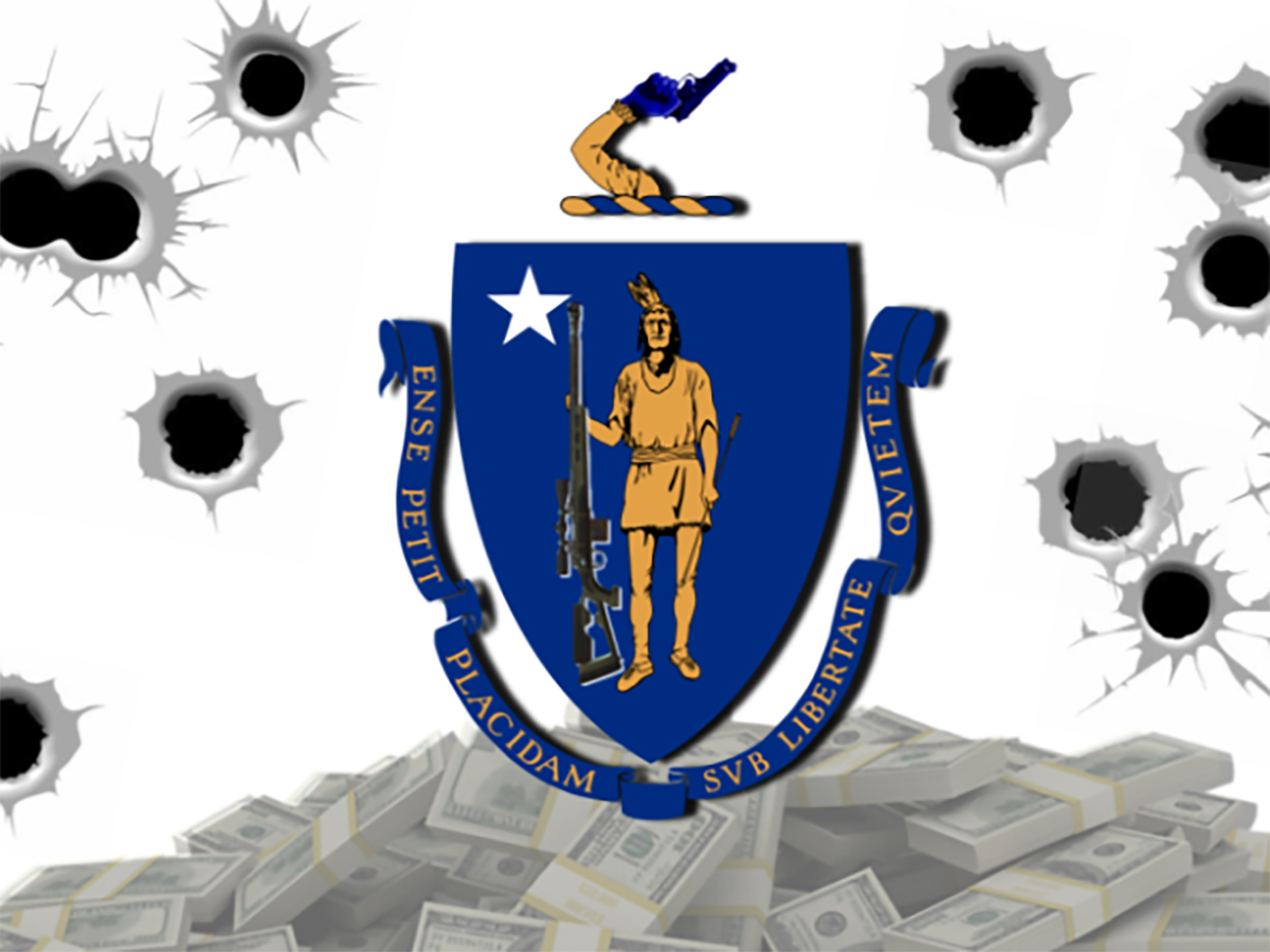 A graphic of the Massachusetts emblem with bullet holes