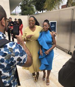 Oprah Winfrey and a fan