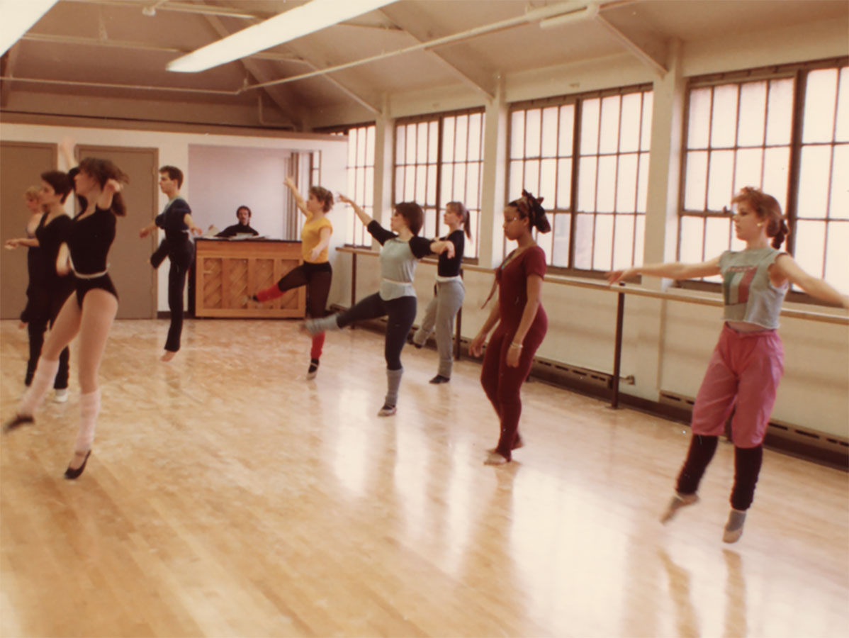 Emerson College students practice at 69 Brimmer Street in 1970. (Photo courtesy Emerson College Archives and Special Collections)