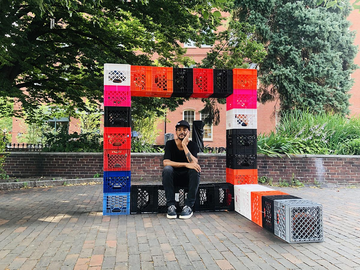 Shaka Dendy MFA '18 is a public artist in residence at the Boston Centre for the Arts through August 23, 2019. His public art project, Gestures of Incompleteness, combines milk crates and old basketballs.