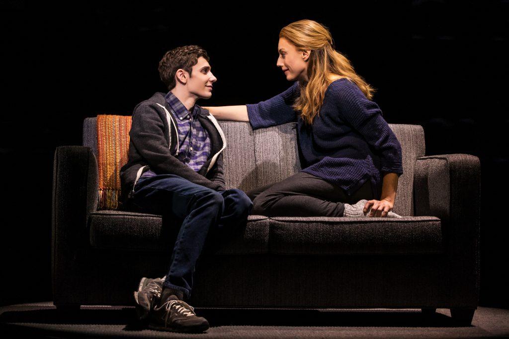 Ben Levi Ross as 'Evan Hansen' and Jessica Phillips as 'Heidi Hansen' in the first North American tour of 'Dear Evan Hansen.' (Photo by Matthew Murphy)