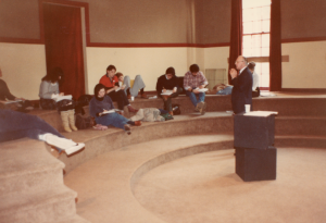 Emerson College students in a class at 69 Brimmer Street in 1981. (Photo courtesy Emerson College Archives and Special Collections)