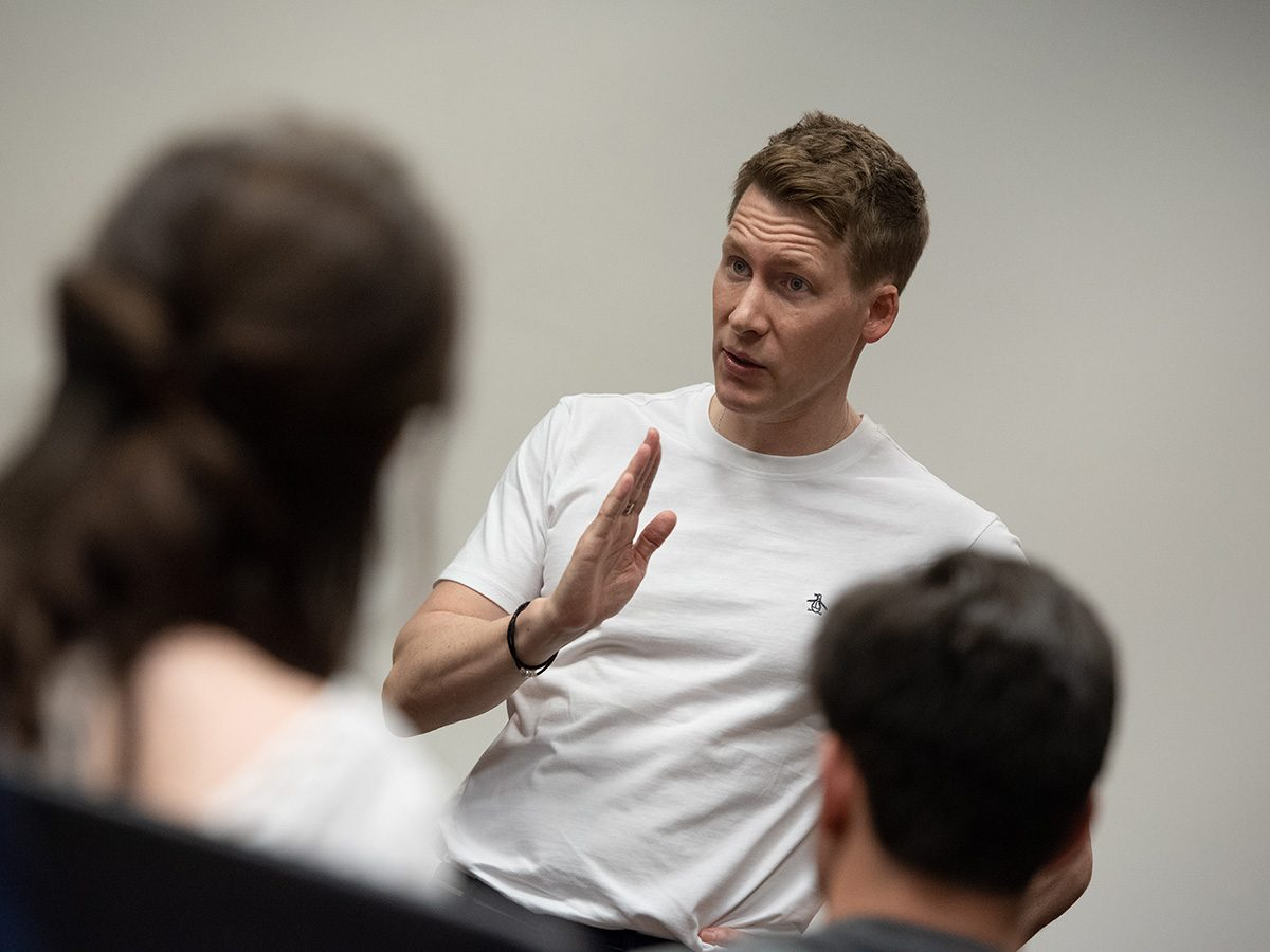 Dustin Lance Black speaks to students