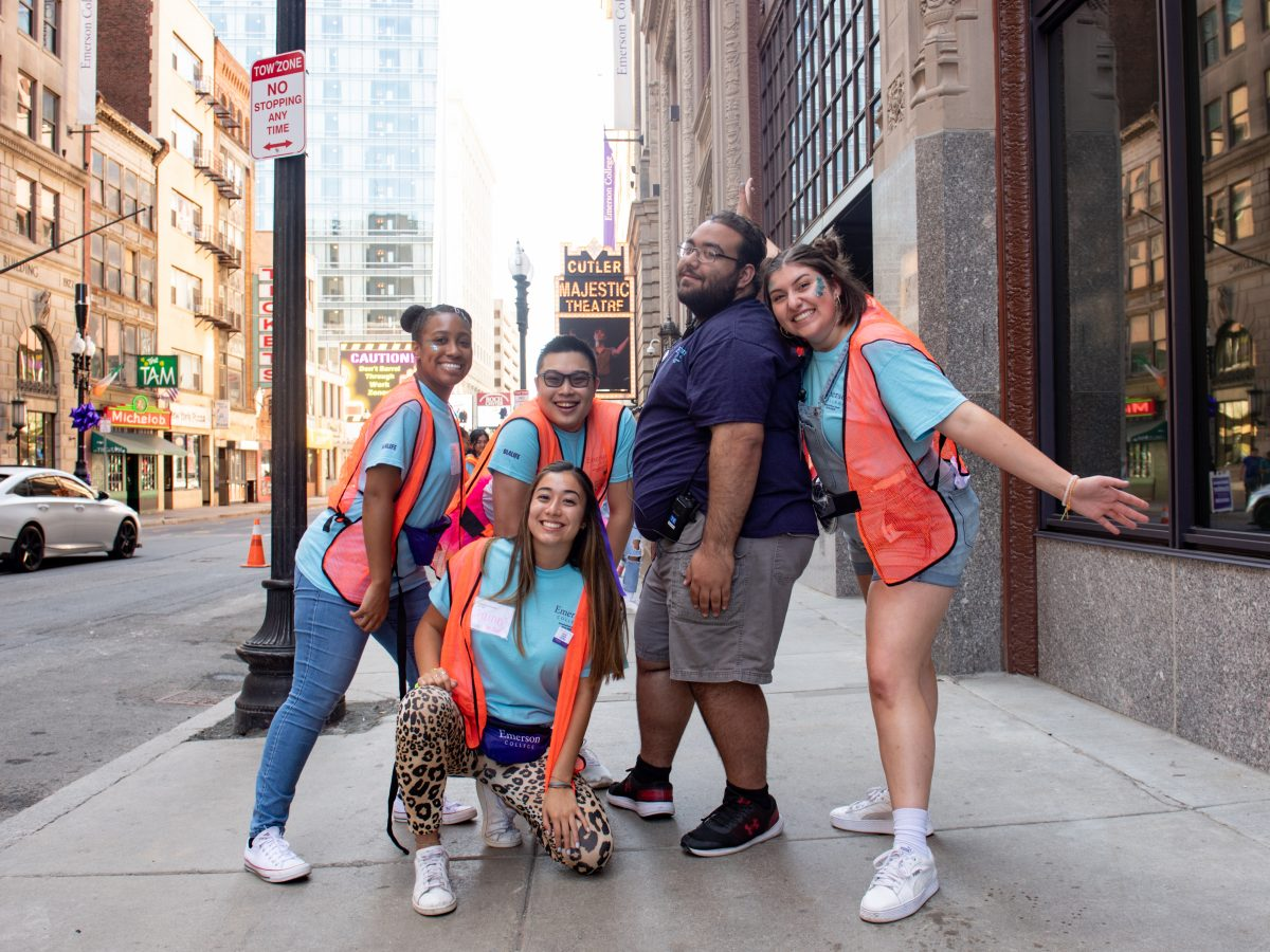 Five students outside of the Little Building