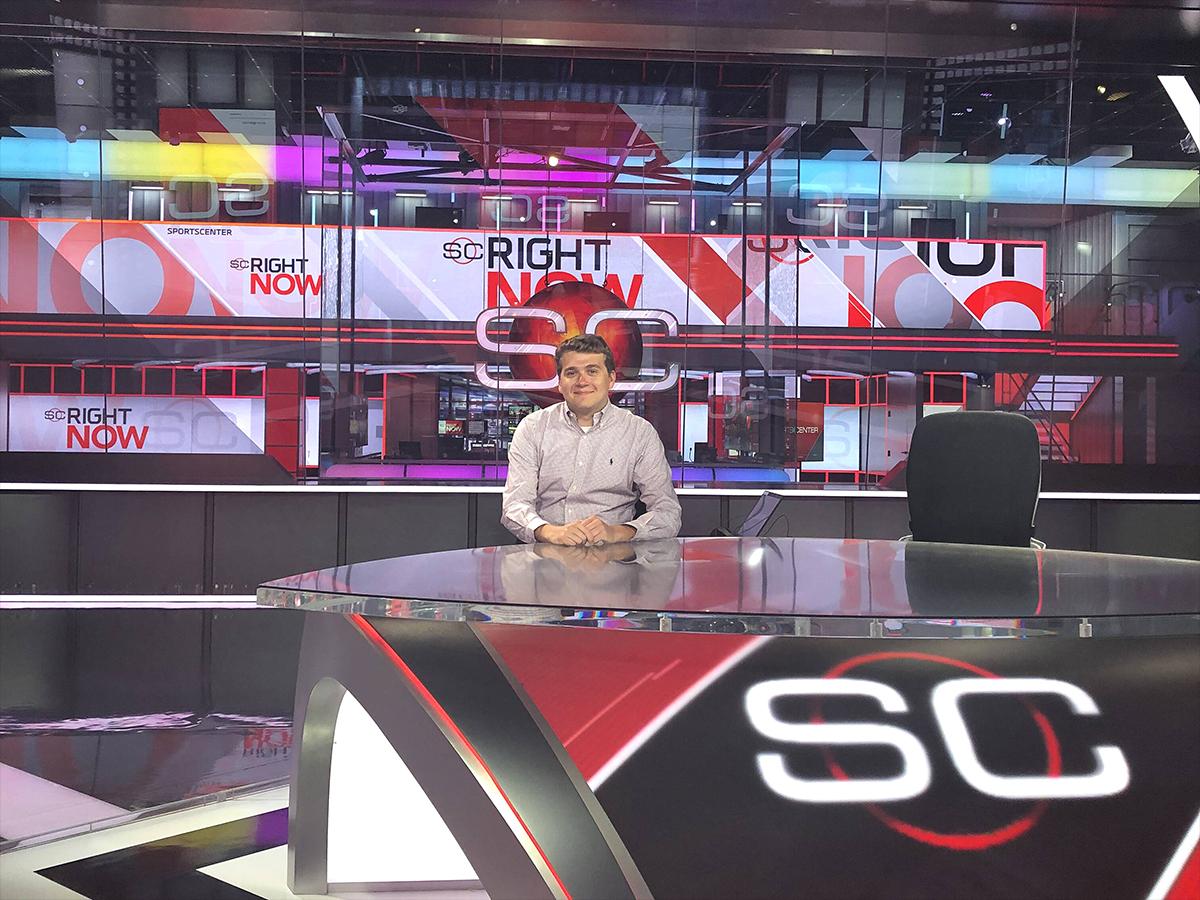 Zach Tobias sitting at ESPN Sportscenter desk