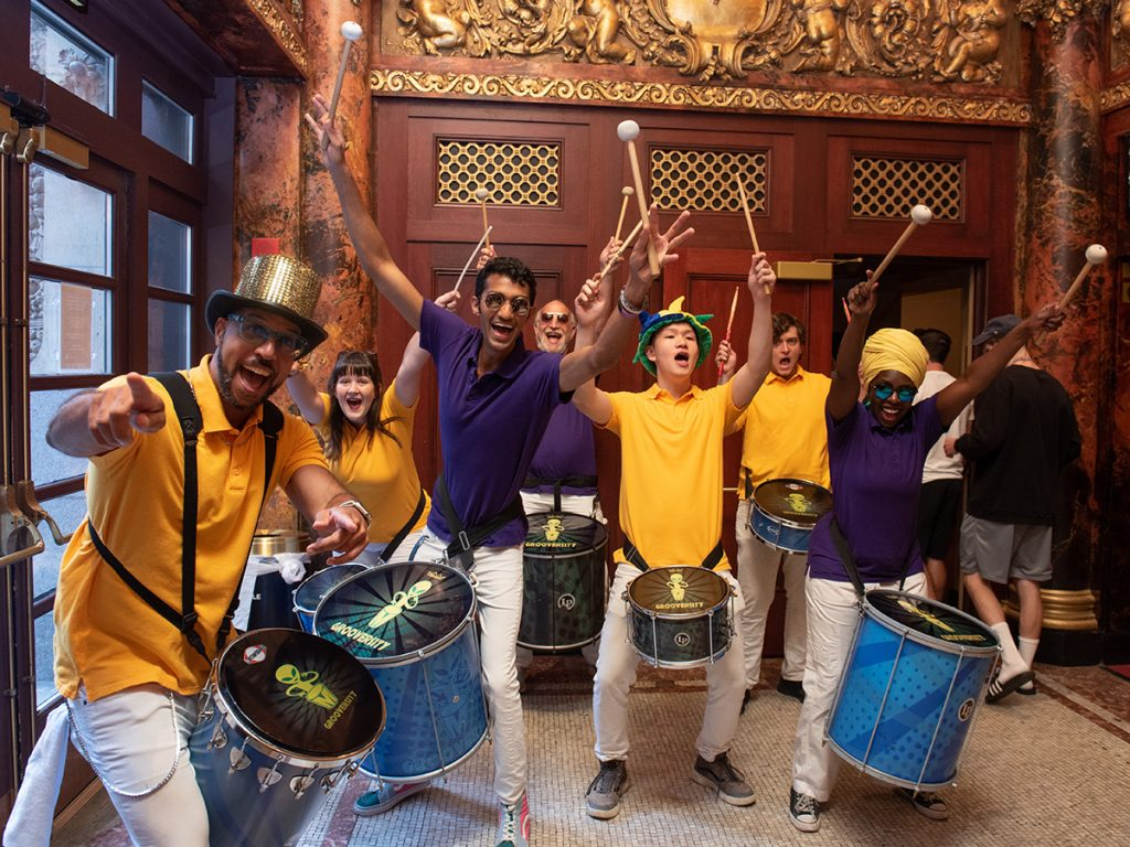 Drummers in the Cutler Majestic Theatre lobby