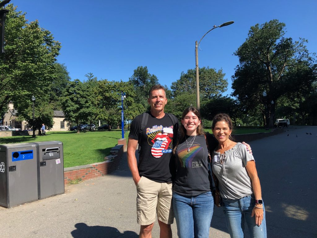 Walt, Gillian, and Monica Anderson, enjoy Gillian's first day at Emerson College before heading into the Boston Common.