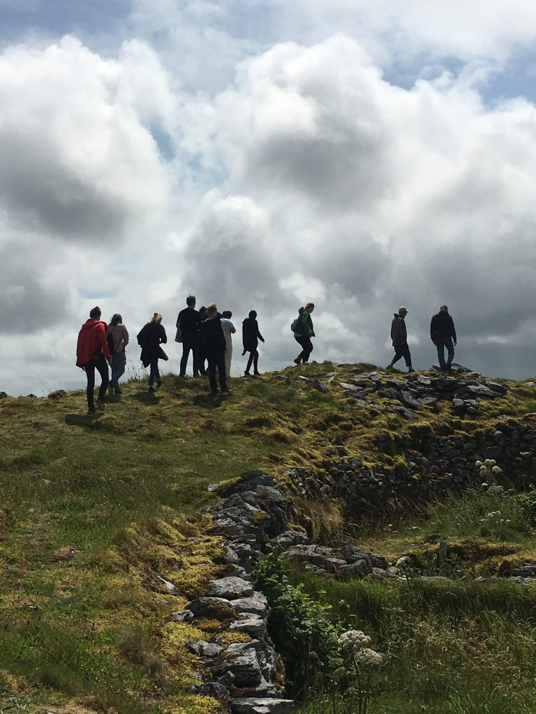 Students hike as part of the Global Pathways program Writing Place and Distance: Art and Environment in The West of Ireland.