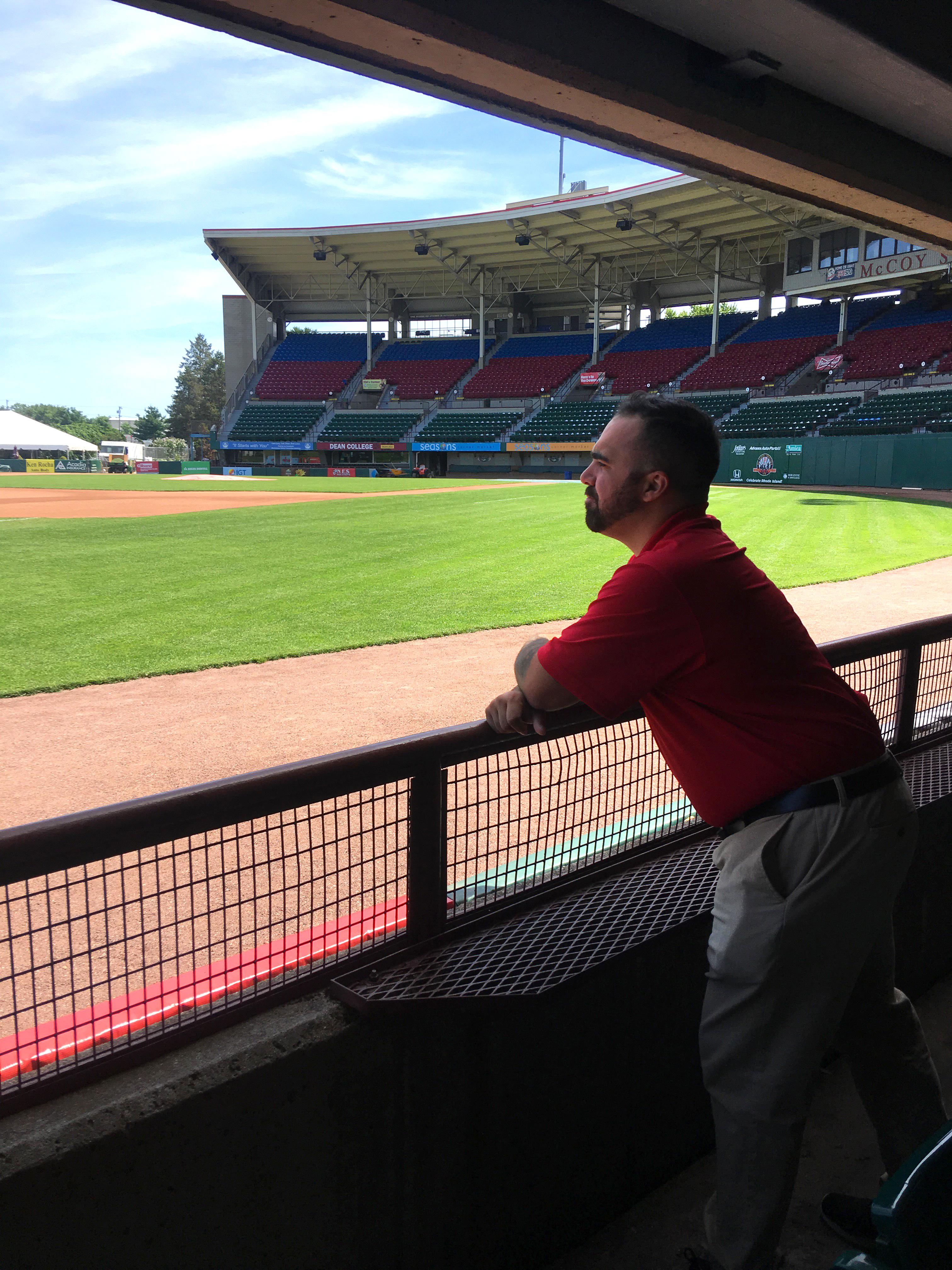 George Havanidis inside the stadium of the Pawtucket Red Sox